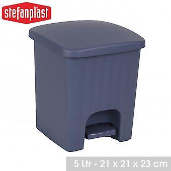 Square Bathroom Kitchen Pedal Bin 5L Blue