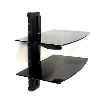 Tempered Black Glass Floating Shelf | M&W 2 Tier