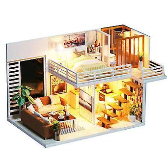Diy doll house boneca de madeira casas miniatura dollhouse móveis piscina kit de construção de villa brinquedo para crianças presente de Natal