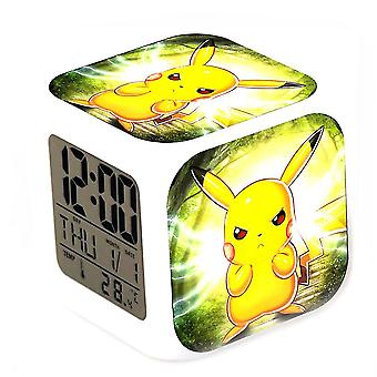 Pikachu Children's Small Thermometer Glowing Cube Alarm Clock 7 Color Changing With Date Night Glowing