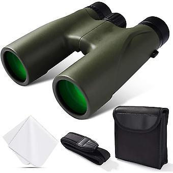12x32 مناظير للبالغين كامل الزجاج البصري HD المهنية مناظير قوية سوبر مشرق BAK4 المنشور FMC عدسة للسفر الطيور مشاهدة الحفلات الرياضية للماء المضادة للضباب مع حزام الكتف،(الجيش الأخضر)