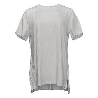 Isaac Mizrahi Live! Vrouwen Top Crew-Neck Hi-Low Zoom Knit Wit A392617