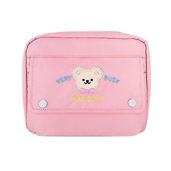 Pink Cute Cartoon Nylon Cosmetic Bag Student Pencil Bag Large Capacity Storage Bag (21cm*6cm*17cm)