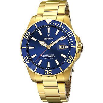 Festina F20533-1 Men's Automatic Gold Tone Steel Bracelet Wristwatch