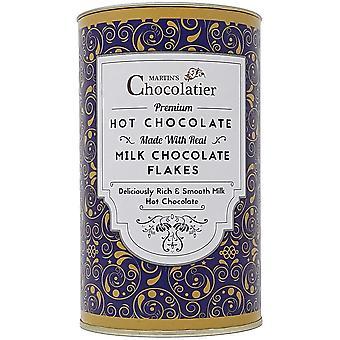Martin's Chocolatier Hot Chocolate Drinking Chocolate Made from Real Belgian Chocolate Flakes - 300g Tin (Milk Chocolate)