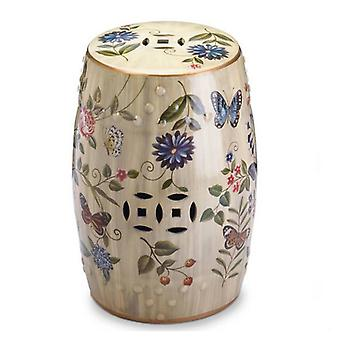 Accent Plus Butterflies and Flowers Ceramic Stool, Pack of 1