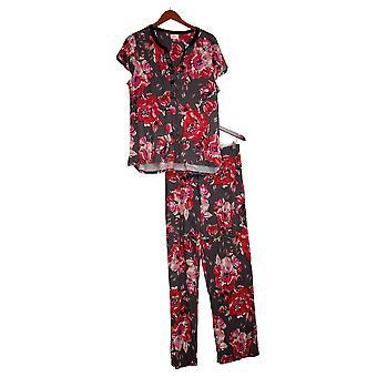 Aria Women's Jersey Floral Pajama Set with Satin Trim Gray 637146