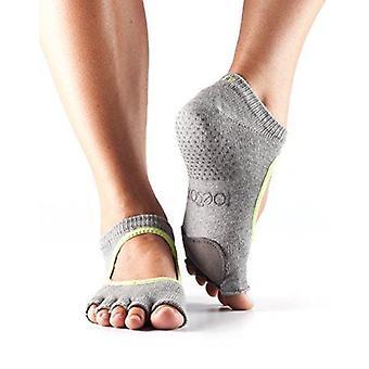 Toesox Half Toe Plie Dance Inspirerade Gripstrumpor med läderplatta - Ljunggrå/Lime