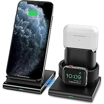 Qianワイヤレス充電器、3 In 1ワイヤレス充電ステーションアップルフォン、airpods、iwatch、