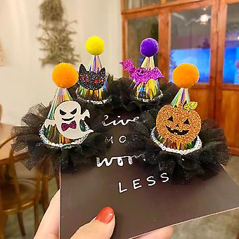 4 peças de cabelo de chapéu de renda de Halloween infantil