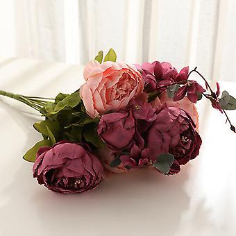 פרחים מלאכותיים 22 פרחי פאוני בסגנון אירופאי