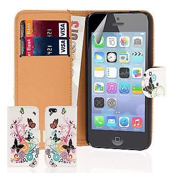 Progettare il libro PU pelle Custodia cover per Apple iPhone 5C - farfalla di colore