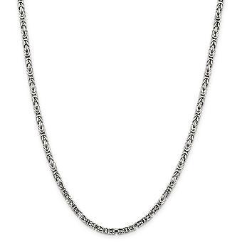 925 plata esterlina sólida pulido langosta garra cierre 3.25mm collar de cadena bizantina - garra de langosta - longitud: 18 a 3