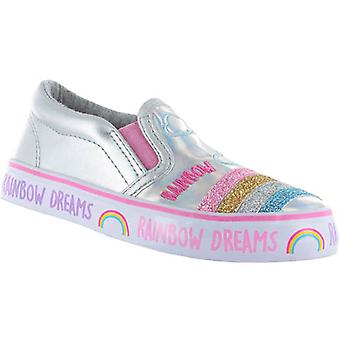 Girls shiny silver slip on skater shoes with a sparkly rainbow design