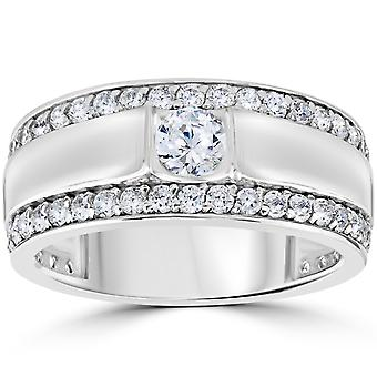 1 3/4 CT Mens Diamond Wedding Ring 10K White Gold