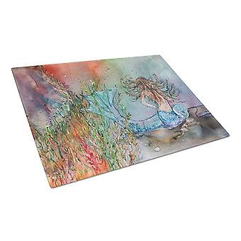 Brunette Mermaid Water Fantasy Glass Cutting Board Large