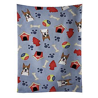 Carolines skarby BB4002KTWL Dog House kolekcja bokser Ręcznik kuchenny