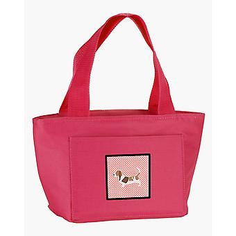 Carolines schatten BB3602PK-8808 Basset Hound dambord roze lunchzak