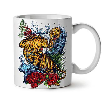 Wild Tiger NEW White Tea Coffee Ceramic Mug 11 oz | Wellcoda