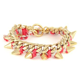 Ettika - Yellow Gold Spikes Bracelet and Cotton Raspberry Braided Ribbons 2295