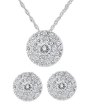 2 1 / 4ct diamante doppio Halo borchie & corrispondenti Ciondolo Set in 14k White Gold