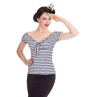 Hell Bunny Navy & White Dolly Top XL
