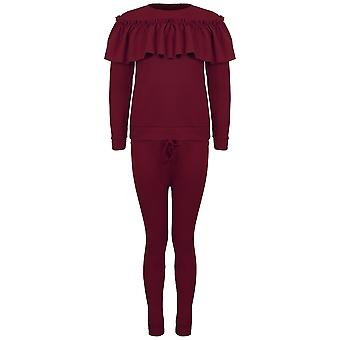 Ladies Long Sleeve Frill Ruffle Top Two Piece Set Loungewear Co-ord Tracksuit