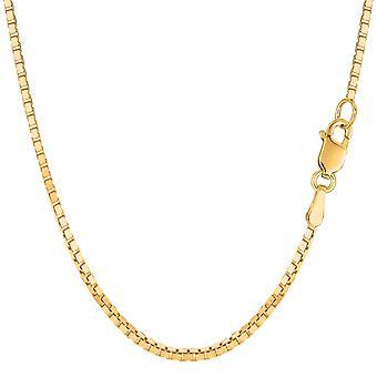 Caja de espejo amarillo del oro sólido 14 k collar de cadena, 1,7 mm