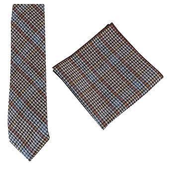 Knightsbridge Neckwear Prince of Wales Check Tie and Pocket Square Set - Blue/Orange/Yellow