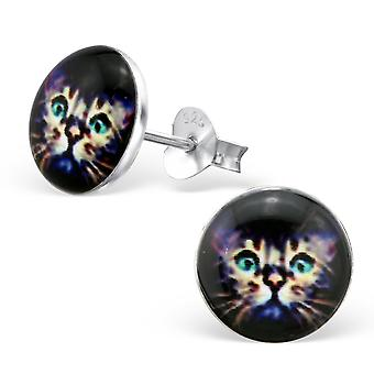 Cat - 925 Sterling Silver Colourful Ear Studs - W28718x