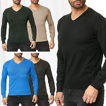 Men's Pullover Long Sleeve Sweat Shirt Cardigan Jumper Sweatshirt V-Neck Sweater