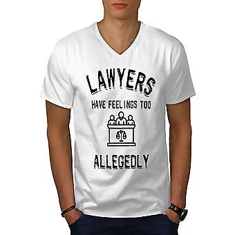 Lawyers Have Felings Men WhiteV-Neck T-shirt | Wellcoda