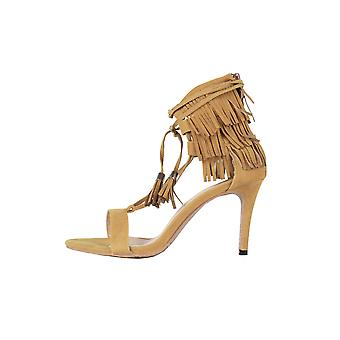 LMS Suede Ankle Lace Heels WIth Fringe Back In Brown