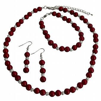 Dar Twojej miłości na wszystkich okazji prezent czerwony perły srebrne Koraliki Biżuteria Set