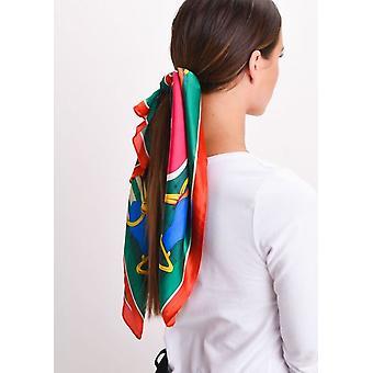 Cabeza de Satén seda bufanda verde impresión caballo