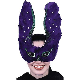 Mask Feather Purpl With Sequin For Adults