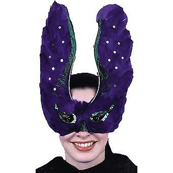 Maske Feder Purpl mit Pailletten für Erwachsene