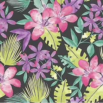 Flowers Wallpaper Floral Tropical Bold Leaf Jungle Black Multi Coloured Rasch