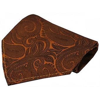 David Van Hagen Luxury Paisley Silk Handkerchief - Copper
