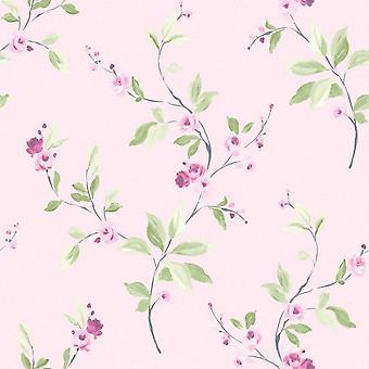 Floral Trail Wallpaper bloemmotief laat licht getextureerde moderne roze Rasch