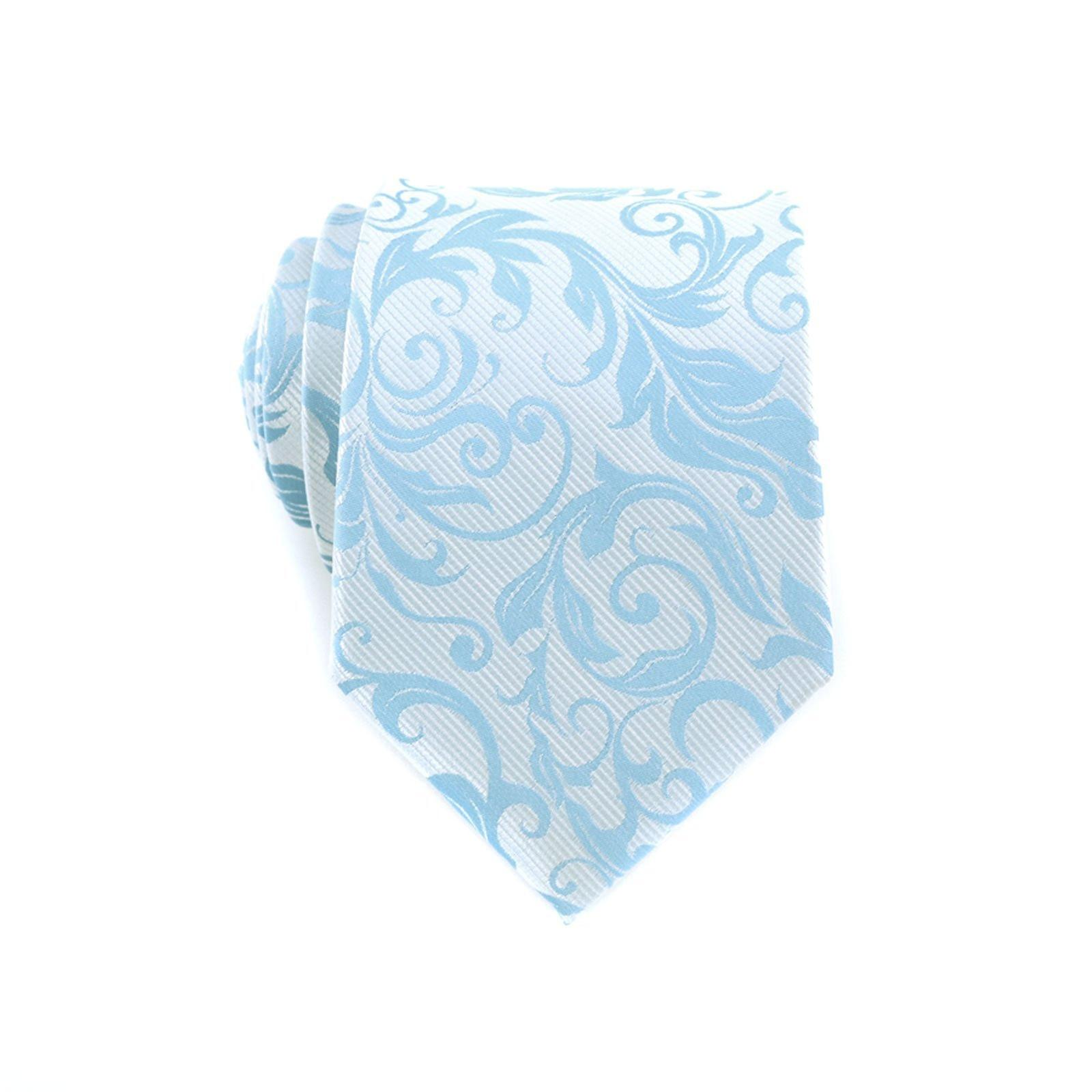 Baby blue floral paisley pattern tie & pocket square