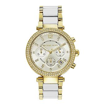 Michael Kors Mk6119 Parker White & Gold Ladies Chronograph Watch