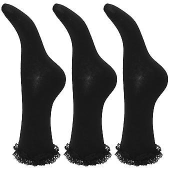 Kinder Mädchen Rüschen Trim Schule Socken (Packung mit 3)
