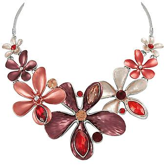 Eternal Collection Bouquet Red Multi Enamel Crystal Silver Tone Statement Necklace