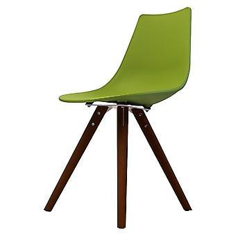 Fusão vivendo iconic verde cadeira de jantar de plástico com pernas de madeira escura