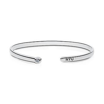 New York University Engraved Sterling Silver Diamond Cuff Bracelet