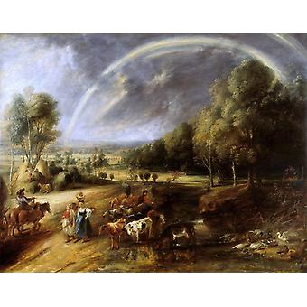 Landscape with Rainbow, Peter Paul Rubens, 50x40cm
