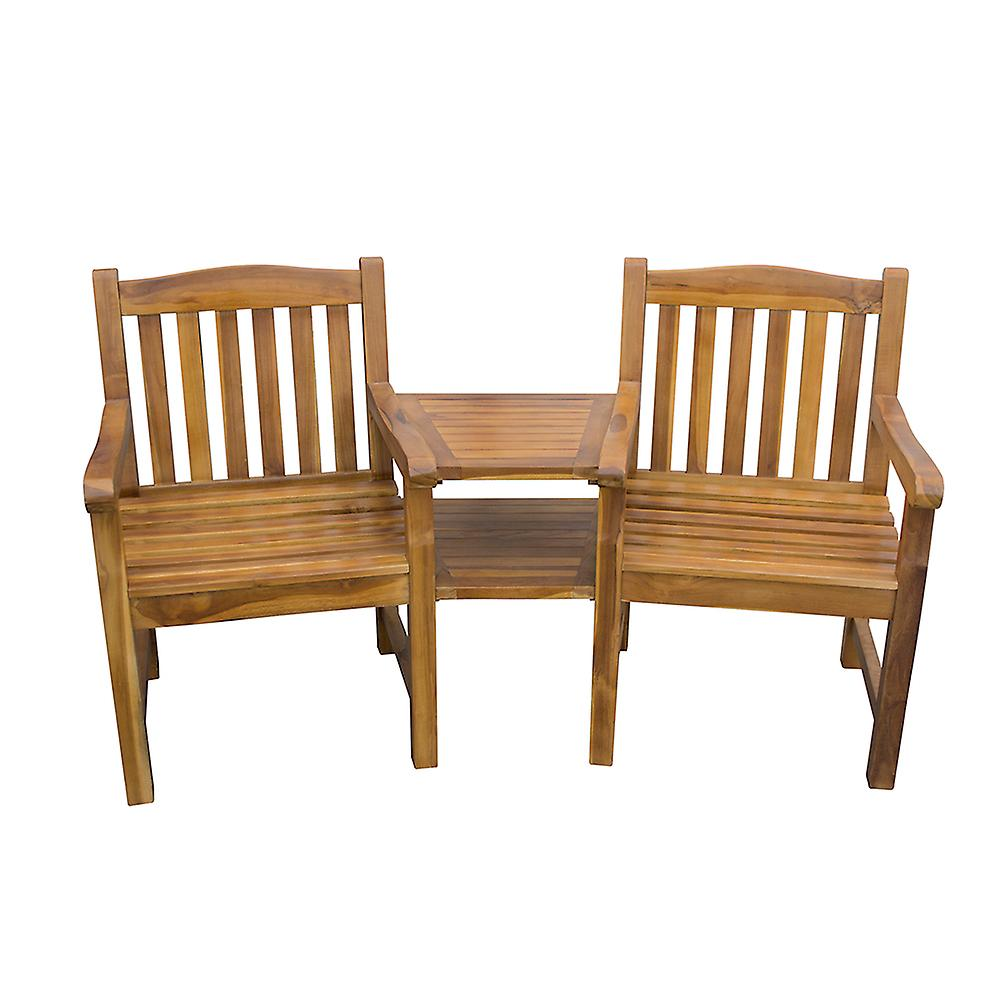 Hardwood Jack and Jill Garden Duo Companion Partner Loveseat Bench with Table