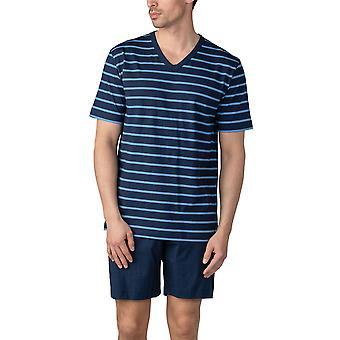 Mey Men 11271-668 Men's Yacht Blue Striped Cotton Pajama Short Pyjama Set