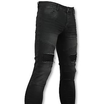 Black Slim Fit Jeans - Biker Jeans Front - 3013